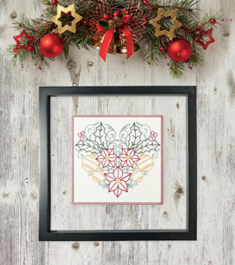 Christmas Flowers & Ornaments Heart in Frame