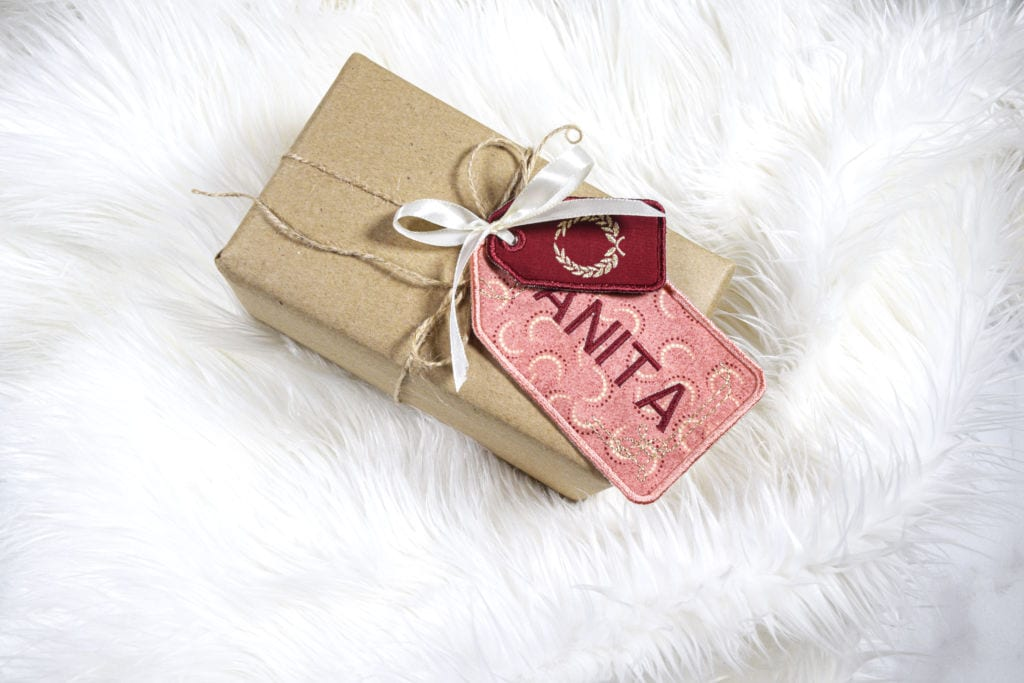 embroidery gift tags