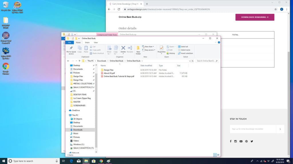 PC downloads, download designs to PC